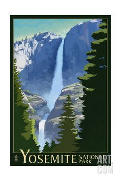 Yosemite Falls - Yosemite National Park, California Lithography Art Print by Lantern Press at Art.com