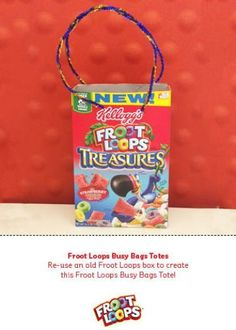Re-use an old Froot Loops box to create this Froot Loops Busy Bags Tote!
