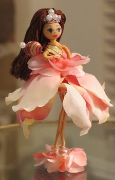 Bendy Doll Birthday Series Flower Fairy Pink and by MossmanPaints