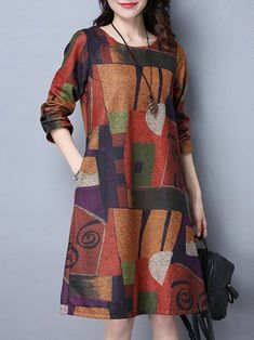 Buy Print Dress For Women at JustFashionNow. Online Shopping JustFashionNow Plus Size Women Print Dress Crew Neck A-line Going out Dress Long Sleeve Casual Pockets Abstract Dress, The Best Going out Print Dress. Women's Dresses, Casual Dresses, Fashion Dresses, Shift Dresses, Dresses Online, Cheap Dresses, Lounge Dresses, Skater Dresses, Stylish Dresses