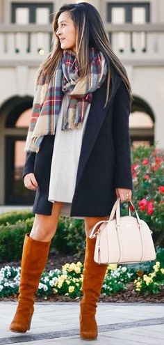 #winter #fashion /  Navy Coat   Camel Boots   Plaid Scarf