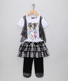 Take a look at this Black Plaid Skirted Tunic & Leggings - Toddler & Girls by Blow-Out on #zulily today! #fall