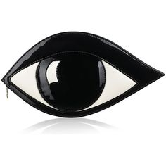 Black Patent Leather Eye Clutch ($360) ❤ liked on Polyvore