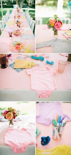 My cousin's shower. 😄 Onesie decorating table with multiple options for guests - Classic Storybook Themed Baby Shower Fiesta Baby Shower, Baby Shower Games, Shower Bebe, Girl Shower, Shower Party, Baby Shower Parties, Baby Showers, Onesie Decorating, Decorating Ideas