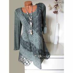 Zipfel Strick Tunika Kleid Shirt diagonal Spitze Flausch Batik dk grü