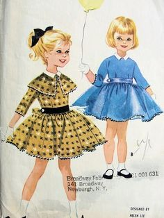 1950s McCalls Childrens Pattern 5576 Sweet Little Girls Dress  Attached Petticoat Helen Lee Design