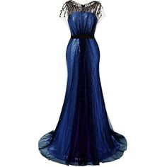 JAEDEN Sequin Prom Dresses Long Evening Party Dress Mermaid Gown ❤ liked on Polyvore featuring dresses, gowns, mermaid gown, mermaid evening dress, blue evening gown, sequin evening gowns and blue evening dresses