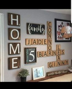 """HOME – Extra Large """"Scrabble"""" Style Wall Letter Tiles – Set of 4 – Gallery Wall Decor - balconydecoration. Deco Scrabble, Scrabble Tile Wall Art, Family Wall Decor, Wall Art Decor, Living Room Decor, Family Wall Collage, Letter Wall Decor, Foyer Decorating, Style Tile"""