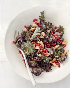 Raw Kale Salad with Pomegranate and Toasted Walnuts, Wholeliving.com #detox #lunch