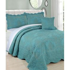 Love this Teal Damask Embroidered Four-Piece Bed Spread Set by BNF Home Inc. Teal Bedspread, Teal Bedding Sets, Teal Comforter, Home Inc, Quilted Bedspreads, Bnf, Quilt Bedding, Bed Sheet Sets, Quilt Sets