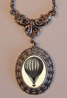Victorian HOT AIR BALLOON Filigree Necklace Steampunk