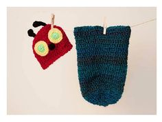 Newborn Caterpillar Cocoon and  Hat by thewhimsicalelephant
