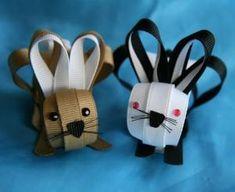 Rabbit, Bunny, Ribbon Sculpture Hair Clip or Pin. $6.00, via Etsy. by roc