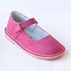L'Amour Girls Classic 758 Nubuck Fuchsia Leather Mary Janes