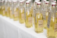 Pour homemade limoncello into small bottles for a boozy favor they'll love.