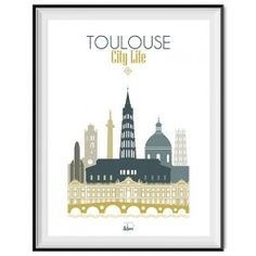 "Affiche ""Toulouse City Life"" Ville Rose, Illustrations Vintage, Monuments, Toulouse France, Pyrenees, Taj Mahal, Deco, City, Skyline"