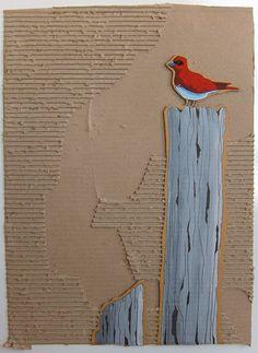 "more Gavin Worth inspiration - ""Red Bird on Post"" - Acrylic on cardboard, 18""x24"""