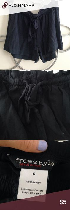 Black tie shorts!! Never worn, brand new!! NWOT! Tie around the waist! Freestyle Shorts Bermudas