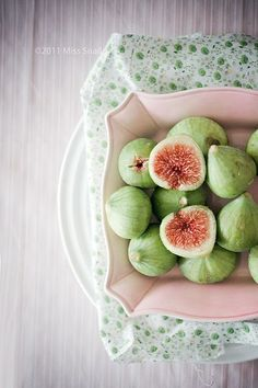 Pastel peach. Green. Figs