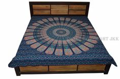 Bed Cover Indian Blue Triangle Mandala Printed Double Bed Sheet Cotton JKUS BD67 #JaipurKalaKendra