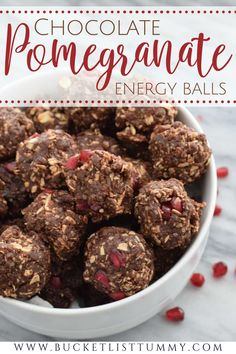 Chocolate Pomegranate Energy Balls are the perfect no-bake, high-fiber on-the-go snack, naturally sweetened with dates. Not only are they full of antioxidants, but they are gluten-free and can be made vegan. #energybites #pomegranaterecipes #energyballs #healthysnacks No Bake Energy Bites, Energy Balls, Real Food Recipes, Snack Recipes, Dessert Recipes, Yummy Snacks, Healthy Snacks, Pomegranate Recipes, Dairy Free