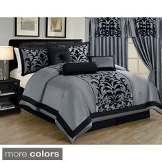 Faux Silk Luxury Embroidered Damask 7-piece Comforter Collection | Overstock.com Shopping - The Best Deals on Comforter Sets