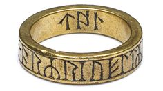 Gold finger-ring, engraved with a runic inscription. Late Anglo-Saxon, found in Cumbria, England.