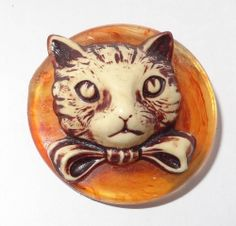 Vintage Celluloid Button Cat Head with Ribbon in High Relief  Large 36.8mm
