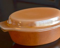 Vintage Fire King Anchor Hocking Peach Lusterware Casserole Dish with Lid