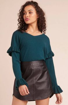 Take a long break in The Out to Lunch ruffle trim v-neck sweater -- perfect for both the office and your favorite lunch spot. Shop BB Dakota now. Short Skirts, Mini Skirts, Out To Lunch, Bootie Sandals, Black Espadrilles, Sweater Shirt, Ruffle Trim, Ruffle Sleeve, Flare Dress