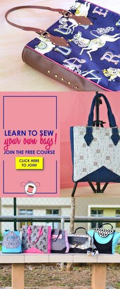 free bag patterns   handbag patterns   purse patterns   learn to sew bags   tote patterns  