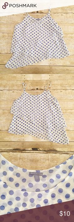 White/ blue polka dot Charlotte Russe tank, small Excellent used condition Charlotte Russ tank in a size small. More of a spaghetti strap. The bottom kind of slants. Is very neat. It is a see through top so will need something underneath it. Total length- approximately 20 and 24 inches, bust- approximately 16 inches. Charlotte Russe Tops Tank Tops