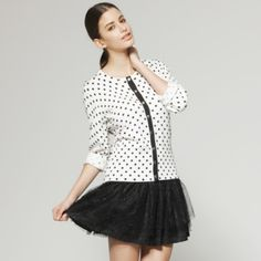 Dot Patterns Round Neckline Long Sleeves Cardigan / Women's Sweaters (FF-C-Bl0736604) – US$ 14.99