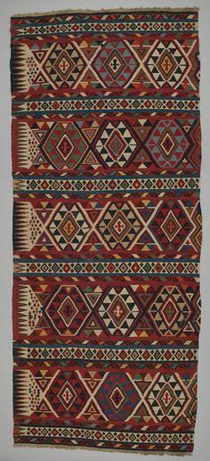rug kilim  Shirvan district  DATE:1880 - 1890 DIMENSIONS:L 355 cm x W 149 cm