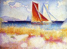 Régate, huile sur toile de Henri Edmond Cross (1856-1910, France)