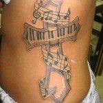 Female have a Cross tattoo on Her Rite Side Of the Body Above Waist