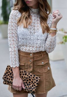 Crochet top with a corduroy skirt - Flaunt and Center