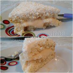 Bolo Diet gelado de coco, recheado e coberto