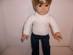 """Ecru Cable Knit Sweater and Jeans made for 18"""" American Girl Boy Doll Clothes"""
