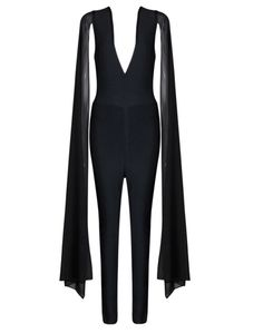 Statement Black Jumpsuit with Long Bell Sleeves. #slayaccessories #capejumpsuit #jumpsuit #bandagejumpsuit #bodycon #bellsleeves