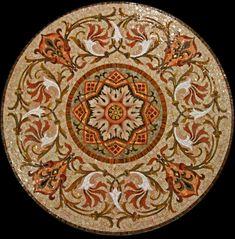 Панно для пола Розетка орнаментальная из мозаики