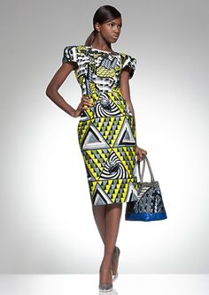 Robe en wax manches bouffantes - Vlisco, collection Parade Of Charm