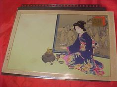 Vintage Japanese Woodblock Print of 1910 Tea  Feminest by MAYSVTG, $187.95