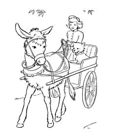 Farm Animal Coloring Page Free Printable Cute Donkey Cart Pages Featuring Hundreds Of Animals Sheets