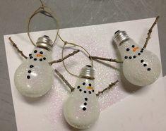 Snowman Lightbulb Ornament Tutorial