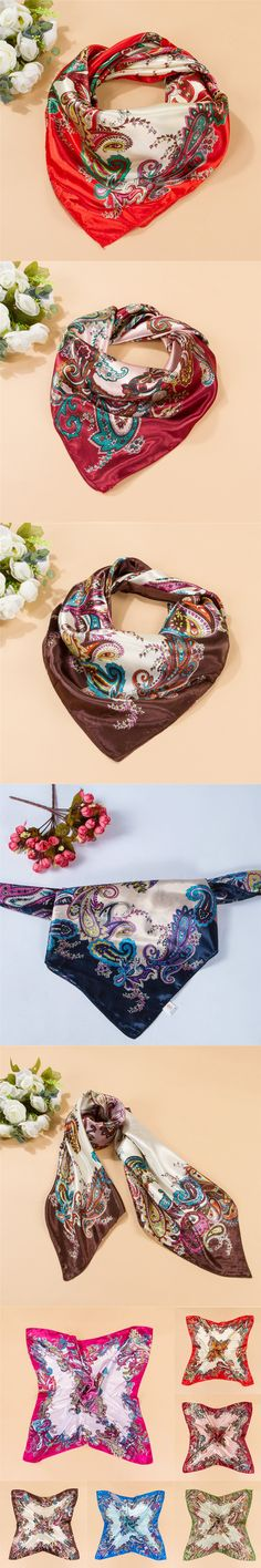 2015 New Summer Style Women Paisley Scarf 90*90cm Imitated Silk Square Scarf Fashion Women Neckerchief Polyester Scarf Shawl $3.68