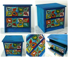 """Türkiz"" kisszekrény / ""Turquoise"" chest of drawers Mosaic Furniture, Shoe Cabinet, Mosaic Designs, Cabinet Design, Chest Of Drawers, Techno, Cabinets, Decorative Boxes, Turquoise"