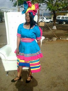 Designs by Alexis Letes'e's 389 media details Sepedi Traditional Dresses, Zulu Traditional Wedding, African Print Dresses, African Fashion Dresses, African Dress, African Attire, African Wear, African Women, Shweshwe Dresses