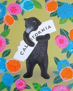 I Love You California Dahlia Print by Annie Galvin - I