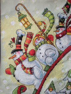 Sledding Snowmen Cross Stitch Christmas stocking - Etsy - Craftycooper
